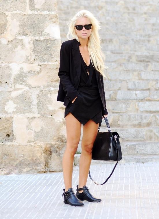 falda pantalon negro